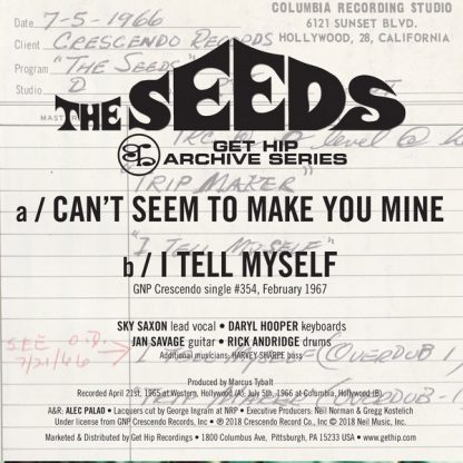 "THE SEEDS: Can't Seem To Make You Mine / I Tell Myself 7"" back cover"