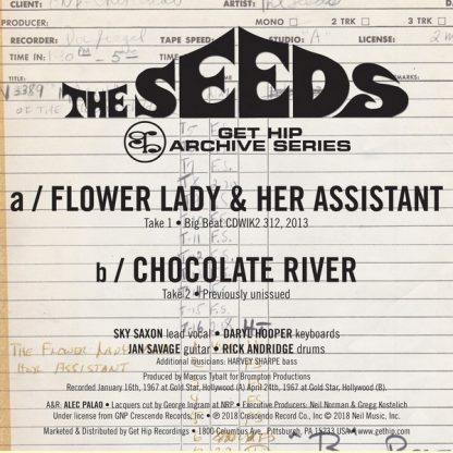 """THE SEEDS: Flower Lady And Her Assistant / Chocolate River 7"""" back cover"""