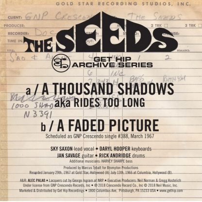"""THE SEEDS: A Thousand Shadows b/w A Faded Picture 7"""" back cover"""