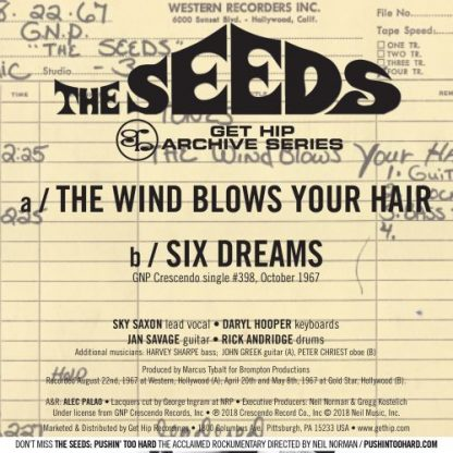 """THE SEEDS: The Wind Blows Your Hair / Six Dreams 7"""" back cover"""