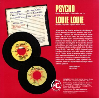 "SWAMP RATS: Psycho / Louie Louie 7"" back cover"