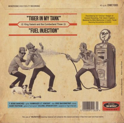 """KING SALAMI & THE CUMBERLAND THREE: Tiger In My Tank 7"""" back cover"""