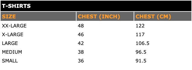 T-Shirts Size Table