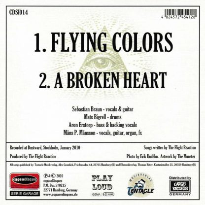 """FLIGHT REACTION, THE: Flying Colors 7"""" back cover"""