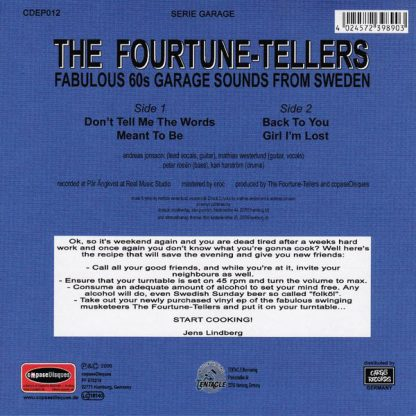 """FOURTUNE TELLERS, THE: Don't Tell Me The Words 7"""" back cover"""