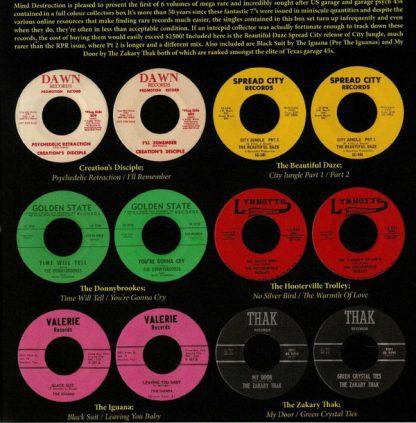 "V/A: Mind Destruction 6x 7"" BOX back cover"