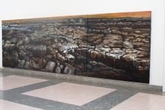 Acryl & wood charcoal on canvas drieluik Rocks 200 x 600