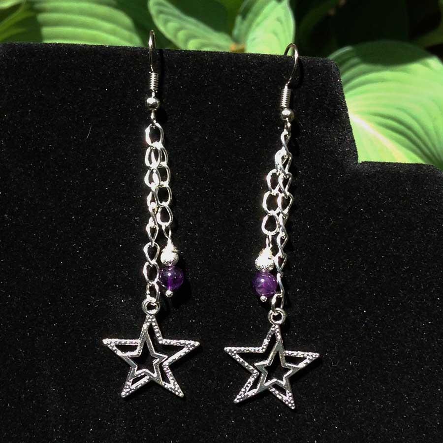 Earrings: Amethyst And 925 Silver Star Drop Earrings