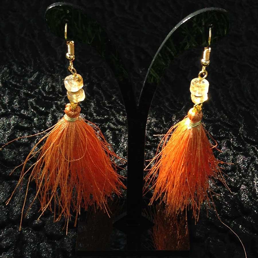 Earrings: Citrine With Orange Tassel Drop Earrings