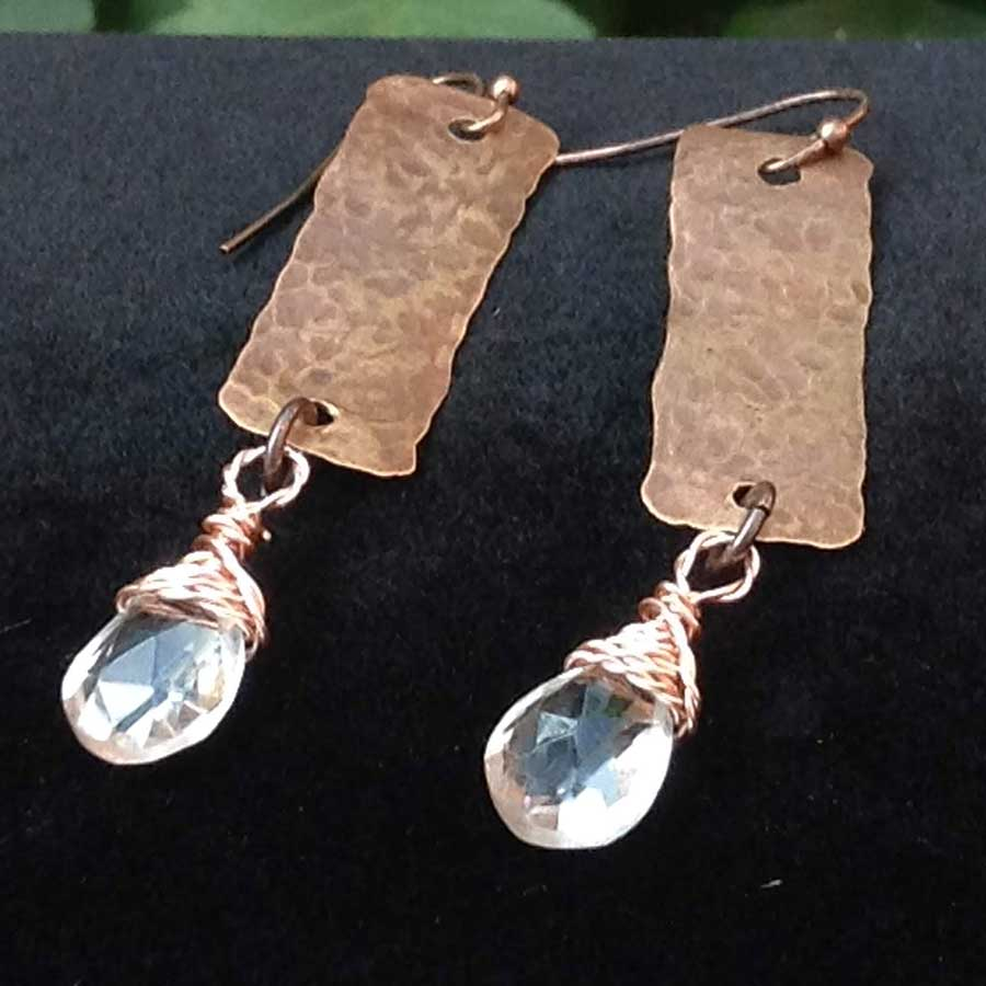 Earrings: Hammered Copper Earrings With Quartz Wire Wrapped Drop