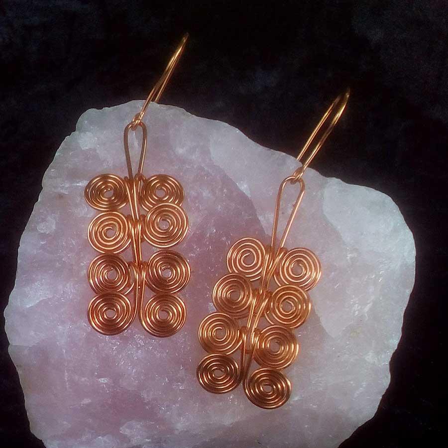 Non Gemstone: Copper Wire Spiral Earrings