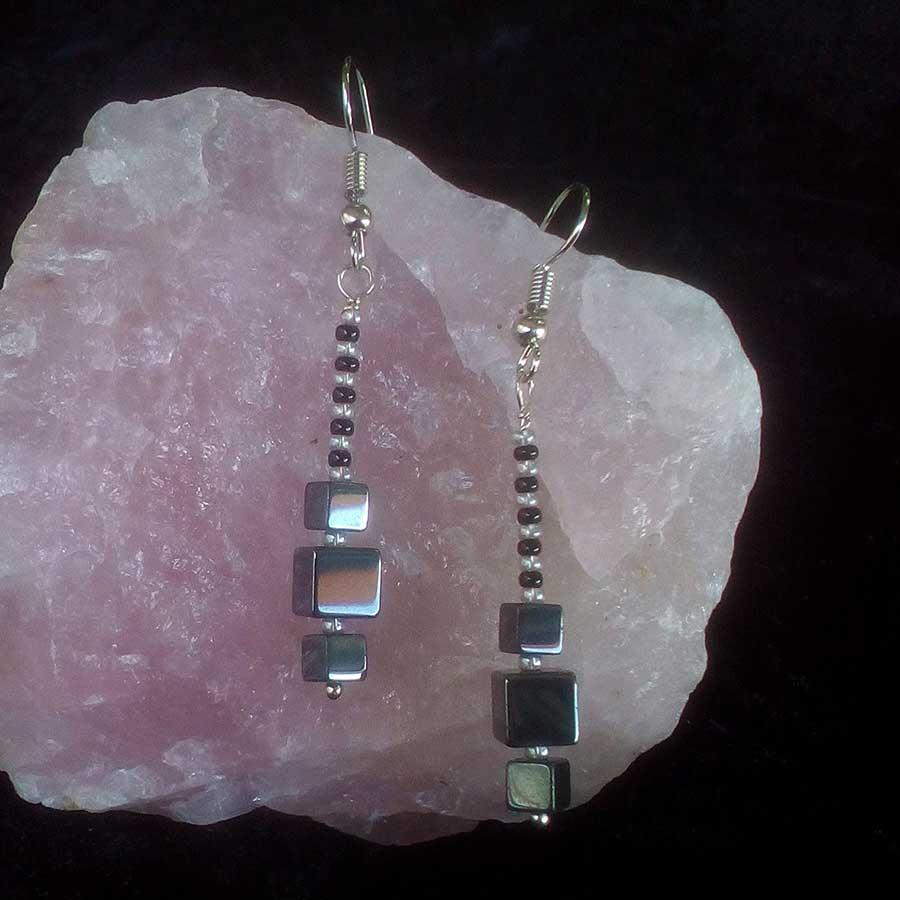 Earrings: Hematite Cubes With 925 Silver Drop Earrings