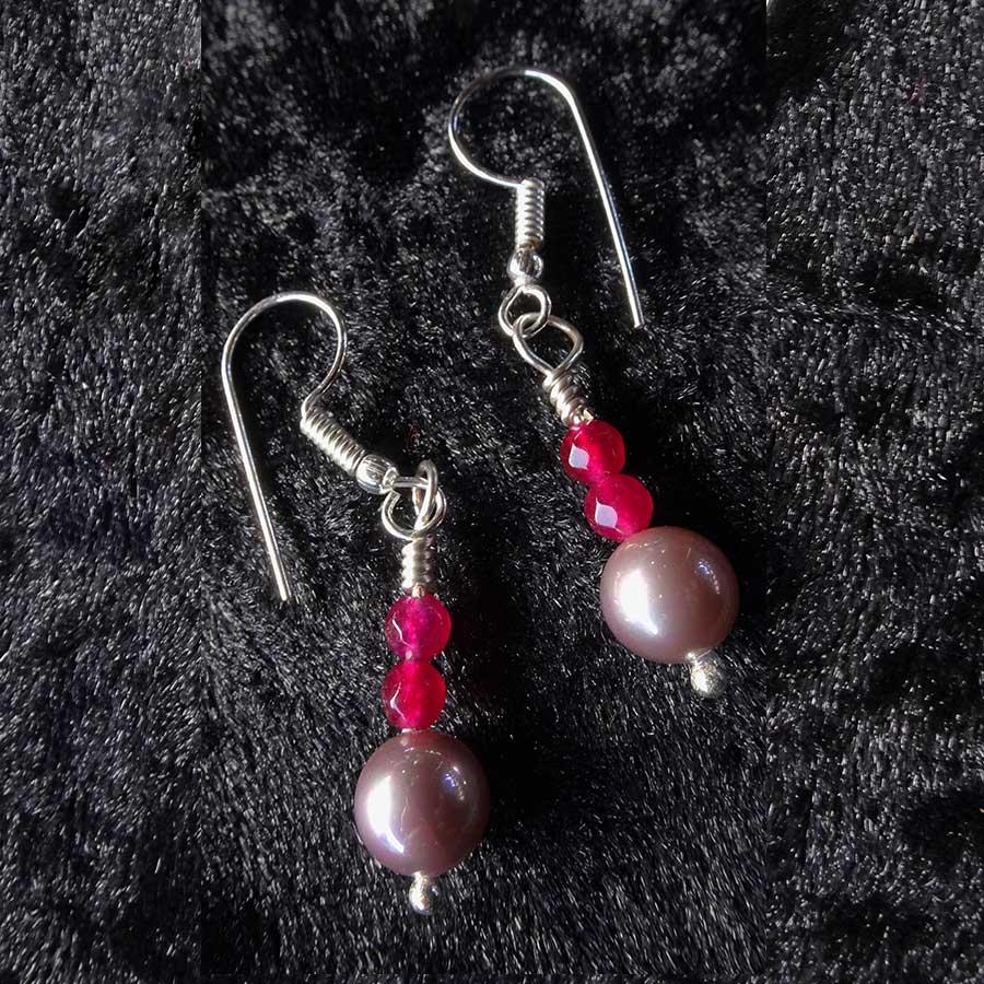 Earrings: Ruby And Pink Shell Pearl 925 Silver Earrings