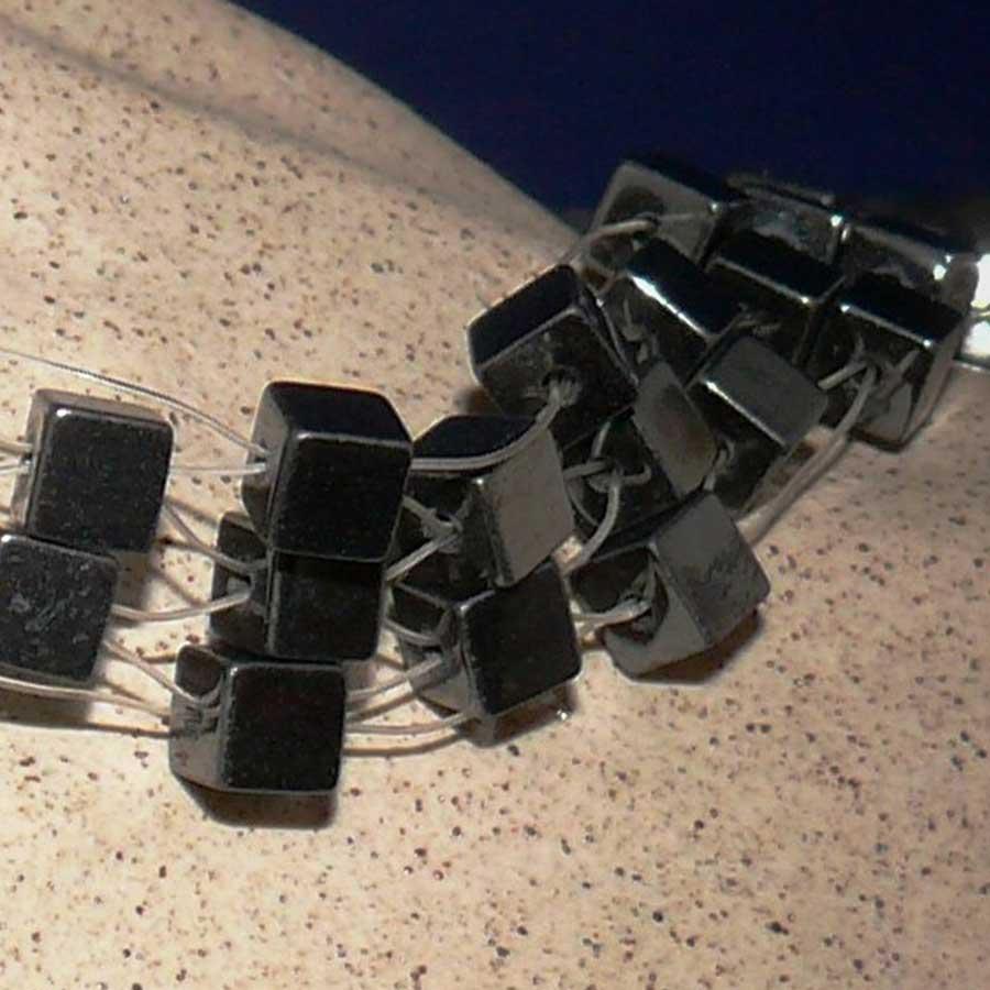 Bracelet: Hematite cube beaded bracelet