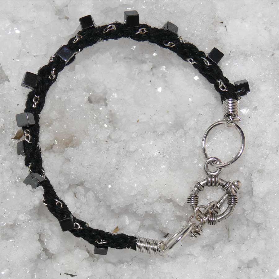 Bracelet: Hematite With 925 Chain & Black Cord Braided Bracelet