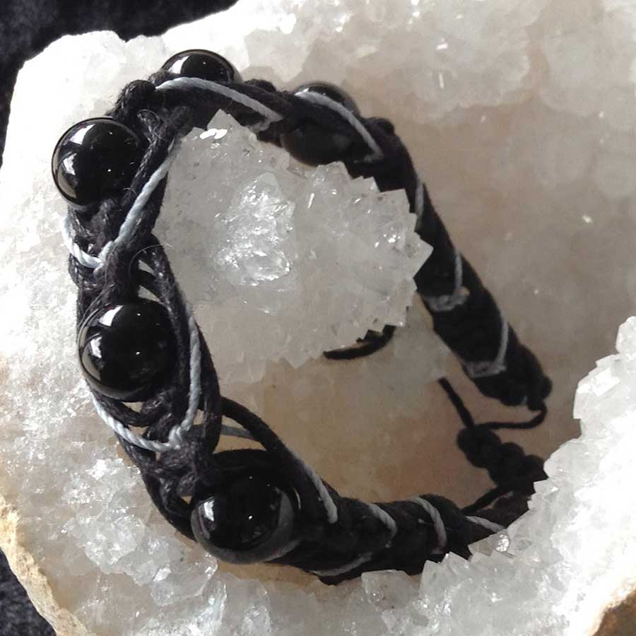 Bracelet: Black Onyx Macrame Bracelet With Grey & Black Cord