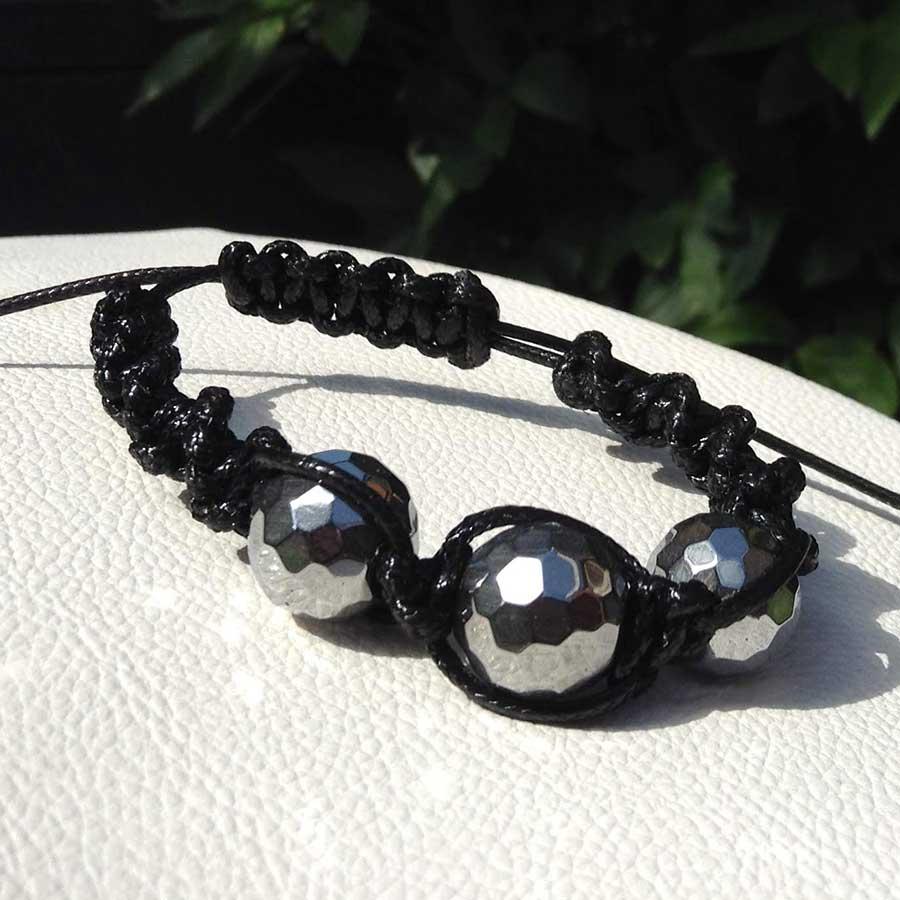 Bracelet: Silver Pyrite With Black Faux Leather Macrame Bracelet