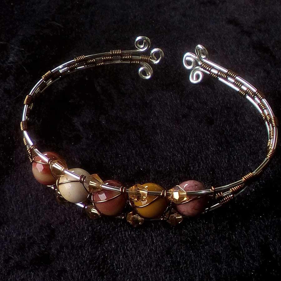 Bracelet: Mookaite Silver & Bronze Wire Wrapped Bracelet