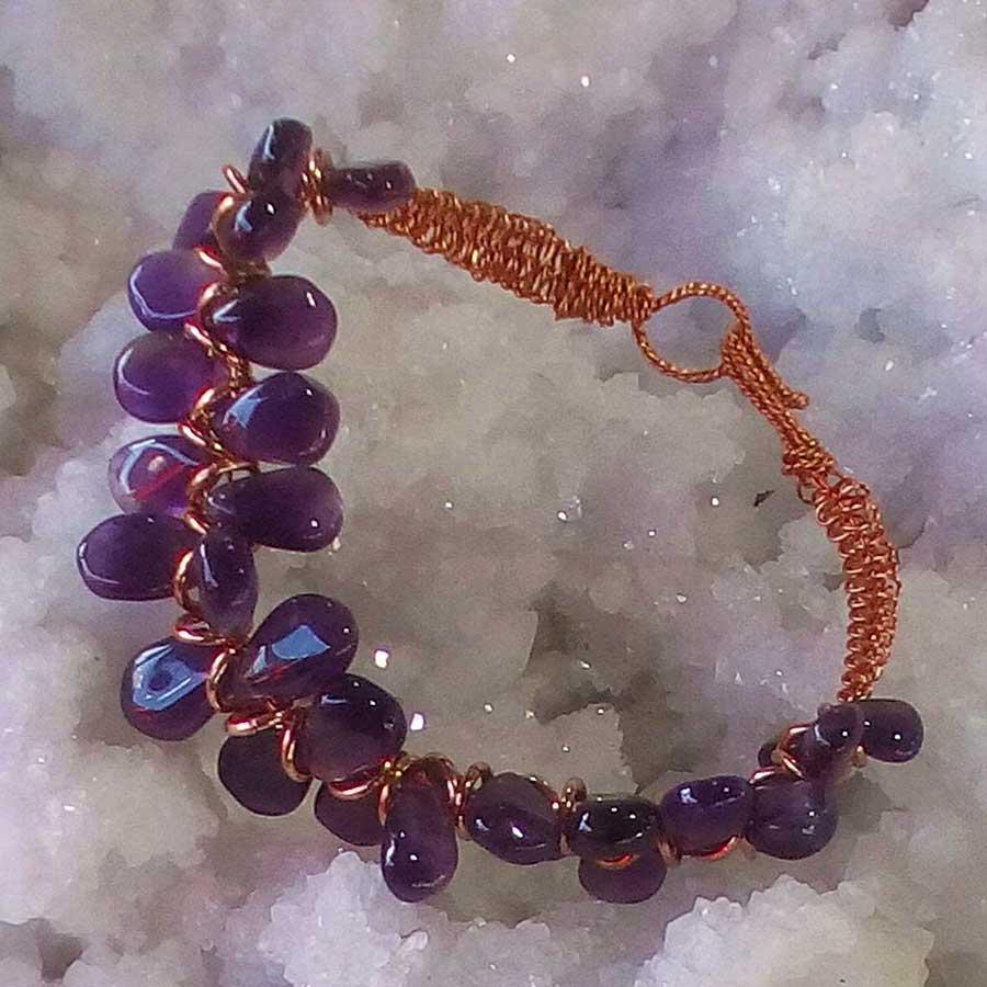 Bracelet: Amethyst With Rose Gold Wire Macrame Bracelet