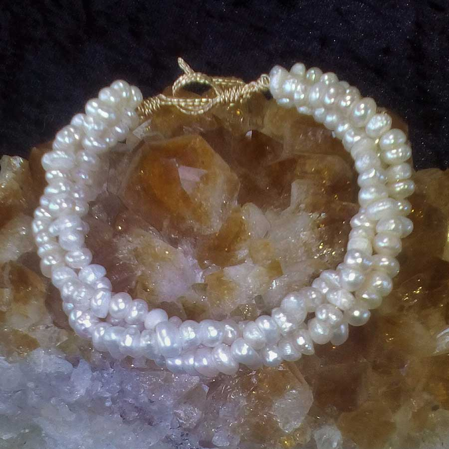Bracelet: White Seed Pearl Twisted Bracelet With Wire Wrapped Clasp