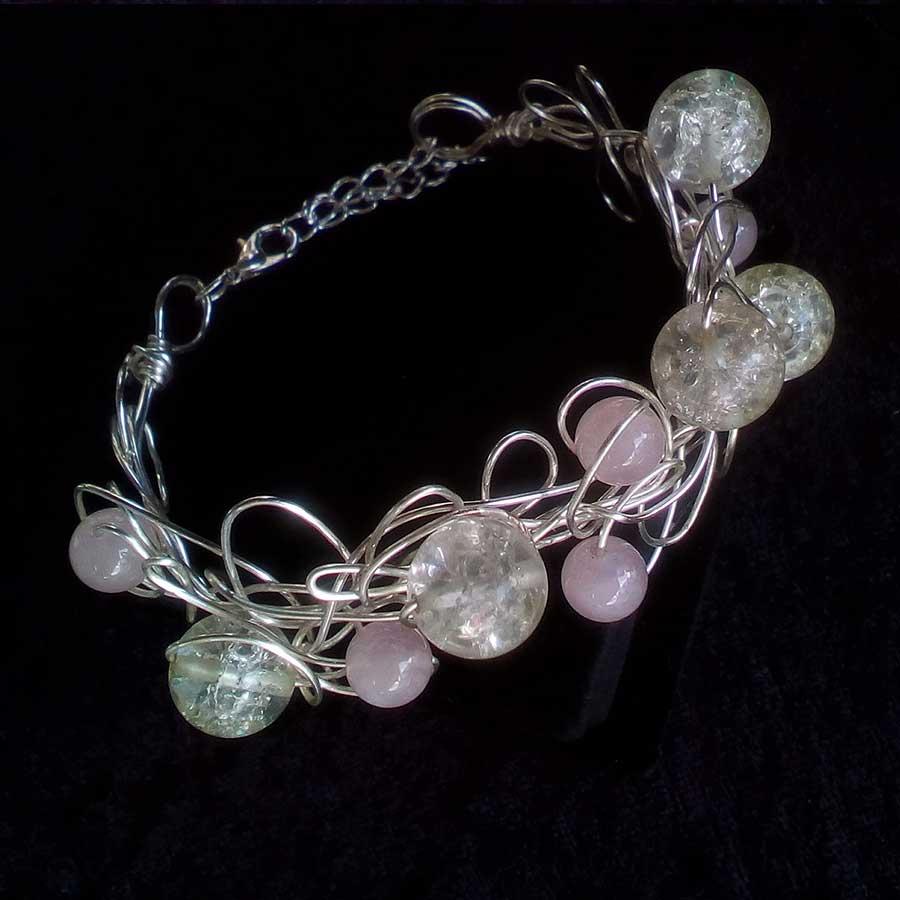 Bracelet: Rose Quartz & Crackle Quartz Silver Wire Wrap Bracelet