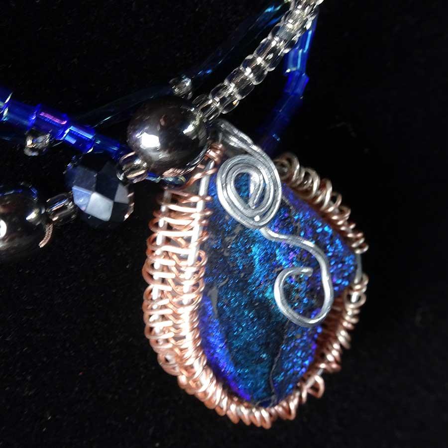 Pendant: Blue Quartz Druzy Silver & Gold Wire Wrapped Pendant