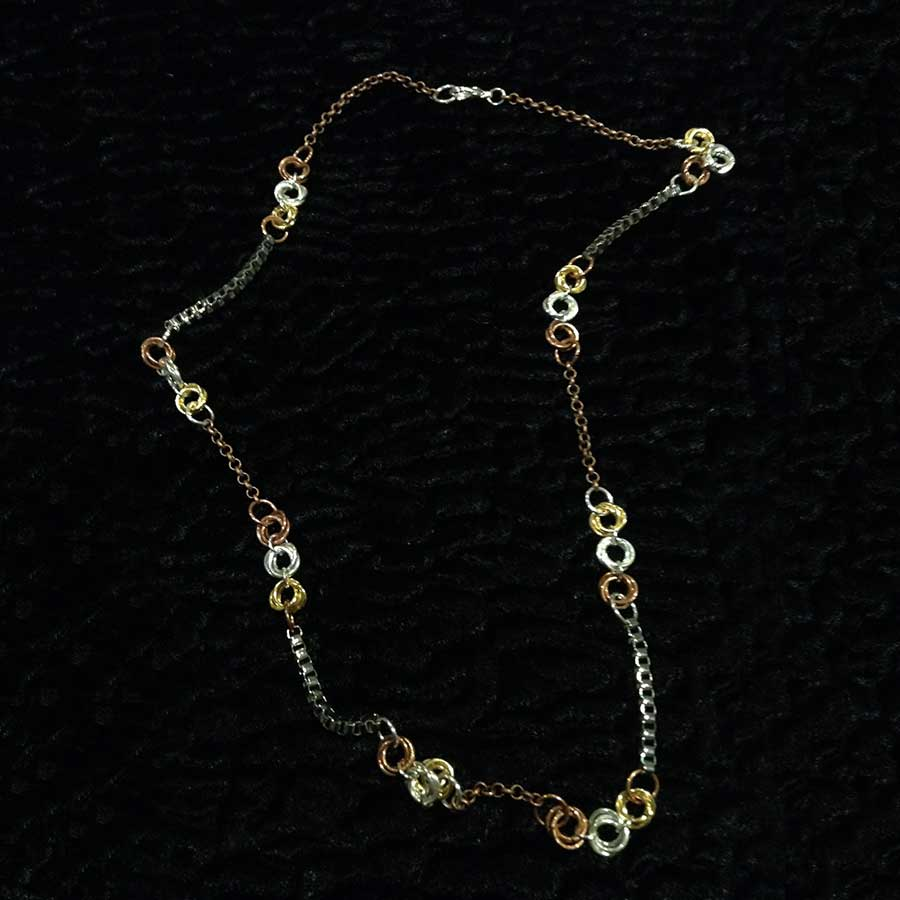 Non Gemstone: Antique Bronze, Silver & Gold Chainmaille Necklace