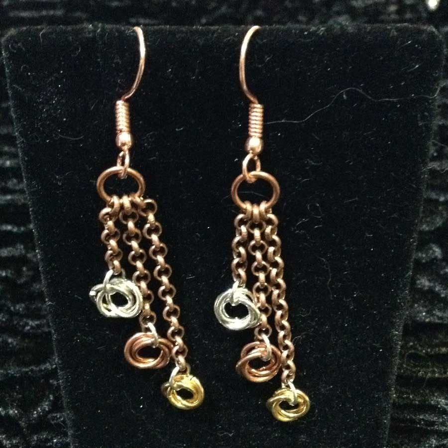 Non Gemstone: Antique Bronze, Silver & Gold Chainmaille Earrings