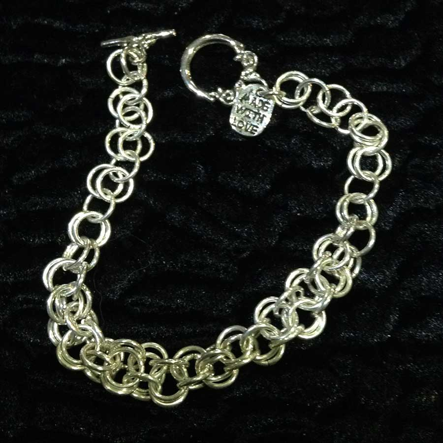 Non Gemstone: 925 Silver Chainmaille Bracelet