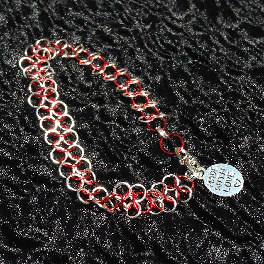 Non Gemstone: Red And Silver Chainmaille Bracelet