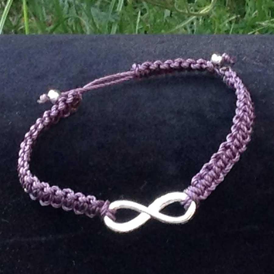 Non Gemstone: Purple Macrame Bracelet With Silver Infinity Symbol