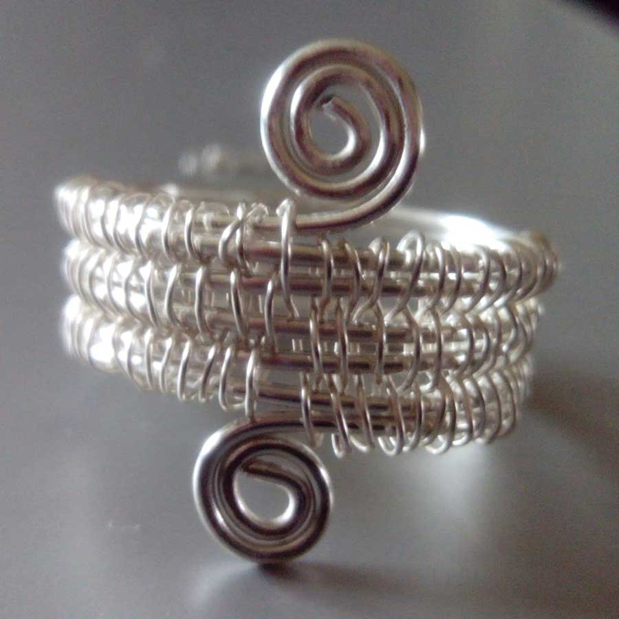 Non Gemstone: : 925 Silver Wire Wrapped Ring
