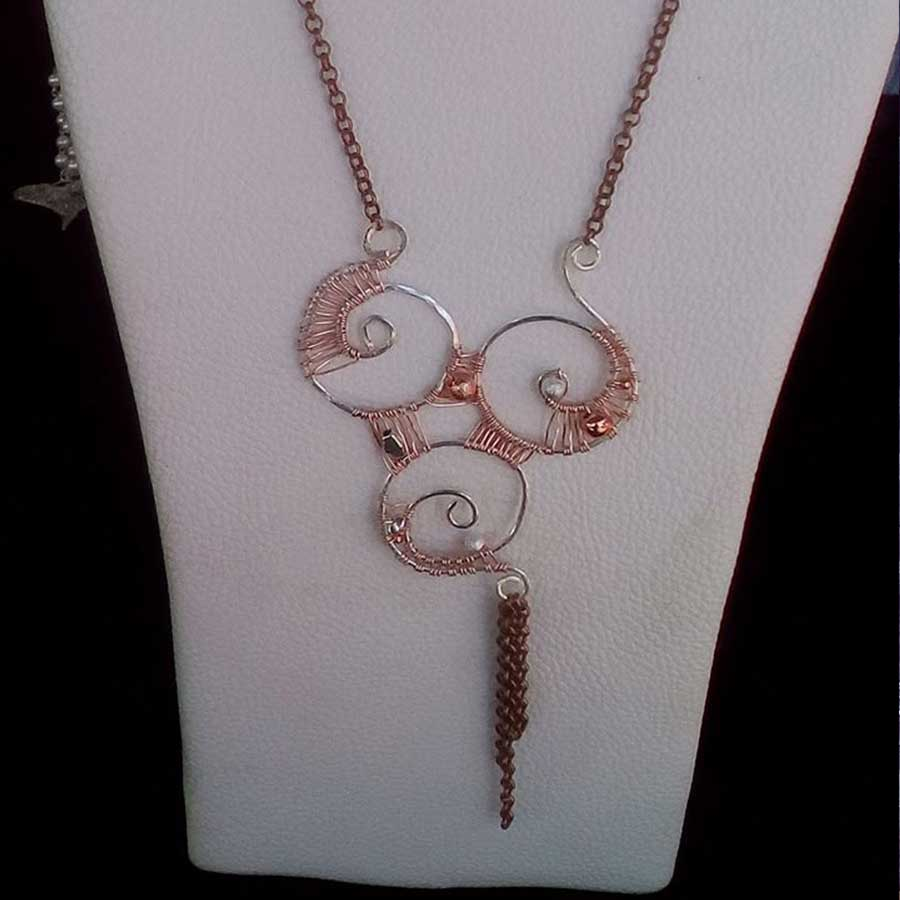 Non Gemstone: Copper & Silver Wire Wrapped Necklace On Chain
