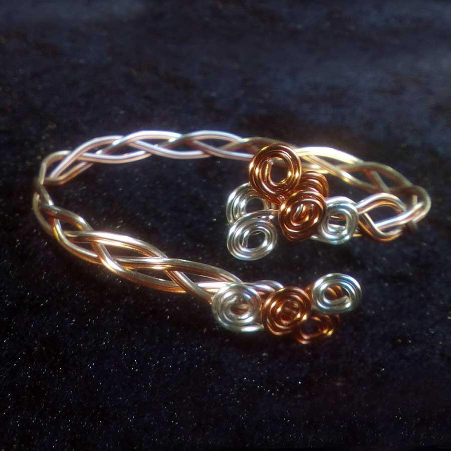 Non Gemstone: Silver And Copper Braided Wire Bangle