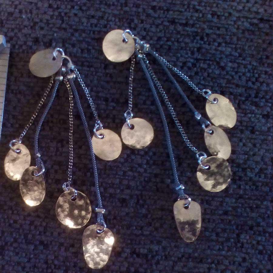 Non Gemstone: Hammered Copper Dangle Chain Earrings