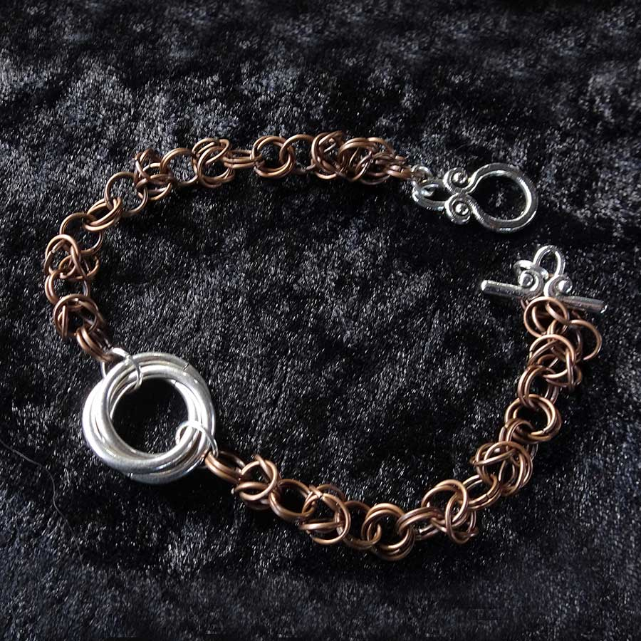 Non Gemstone: Antique Bronze And Silver Chainmaille Bracelet