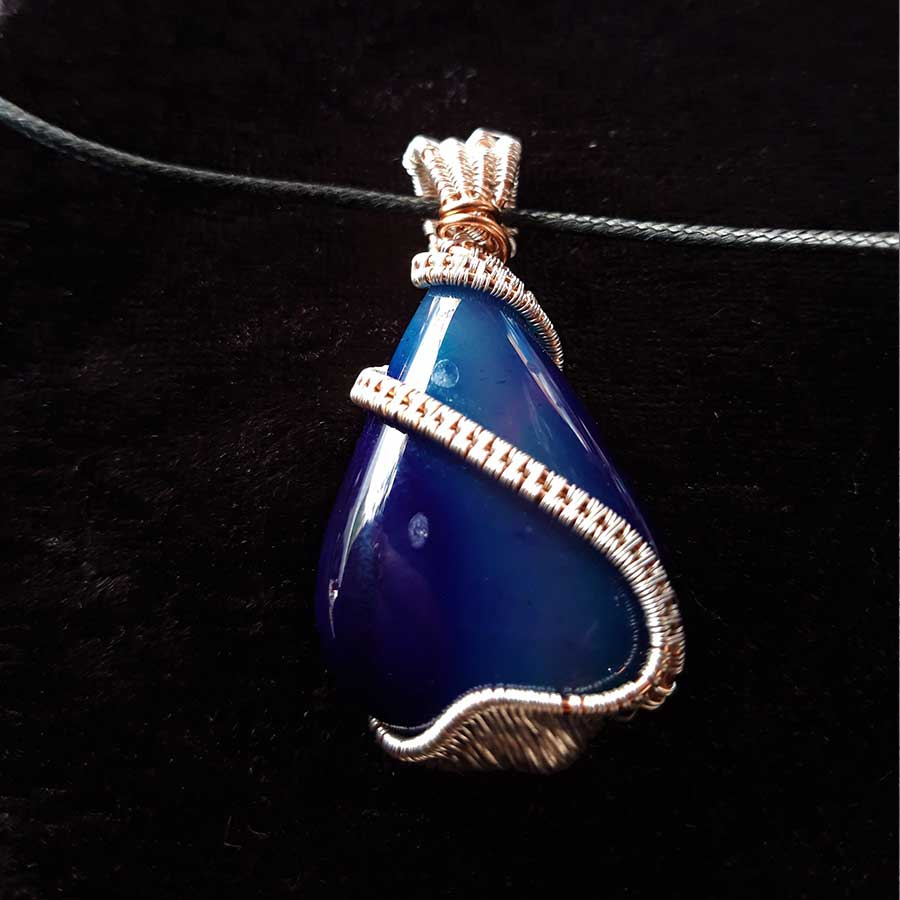 Pendant: Blue Agate Wire Wrapped Cabochon In Silver And Copper Wire