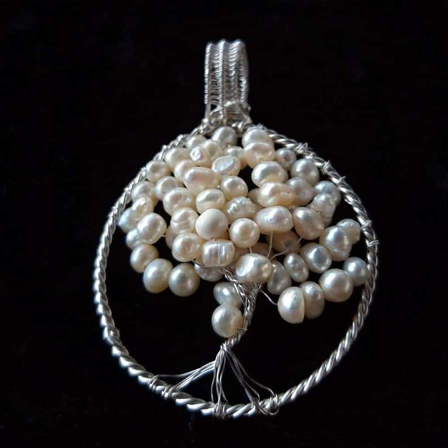 Pendant: Off White Seed Pearl Tree Of Life In 925 Silver
