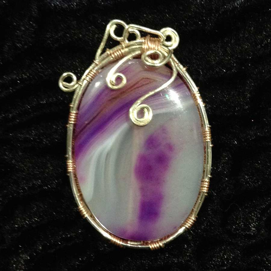 Pendant: Purple And White Agate Wire Wrapped Silver Cabochon