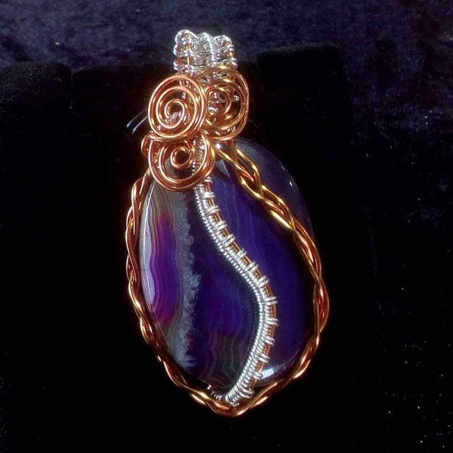 Pendant: Blue Silver Plated Wire Wrapped Pendan