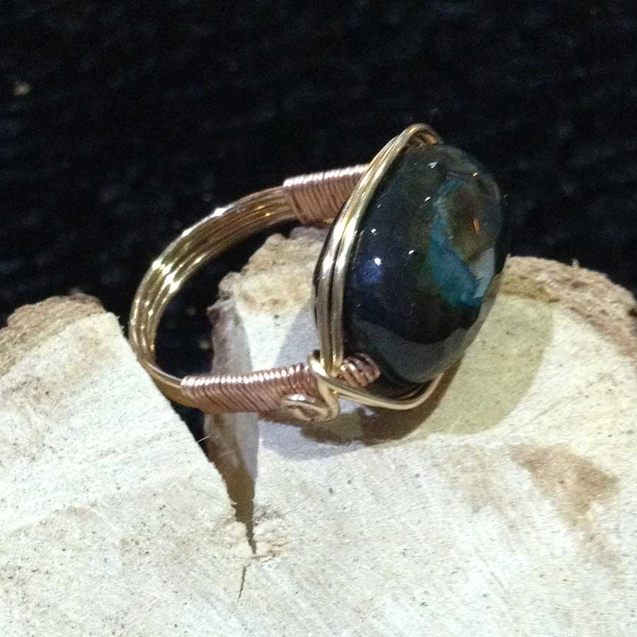 Rings: Blue Green Quartzite Champagne Gold Wrapped Ring