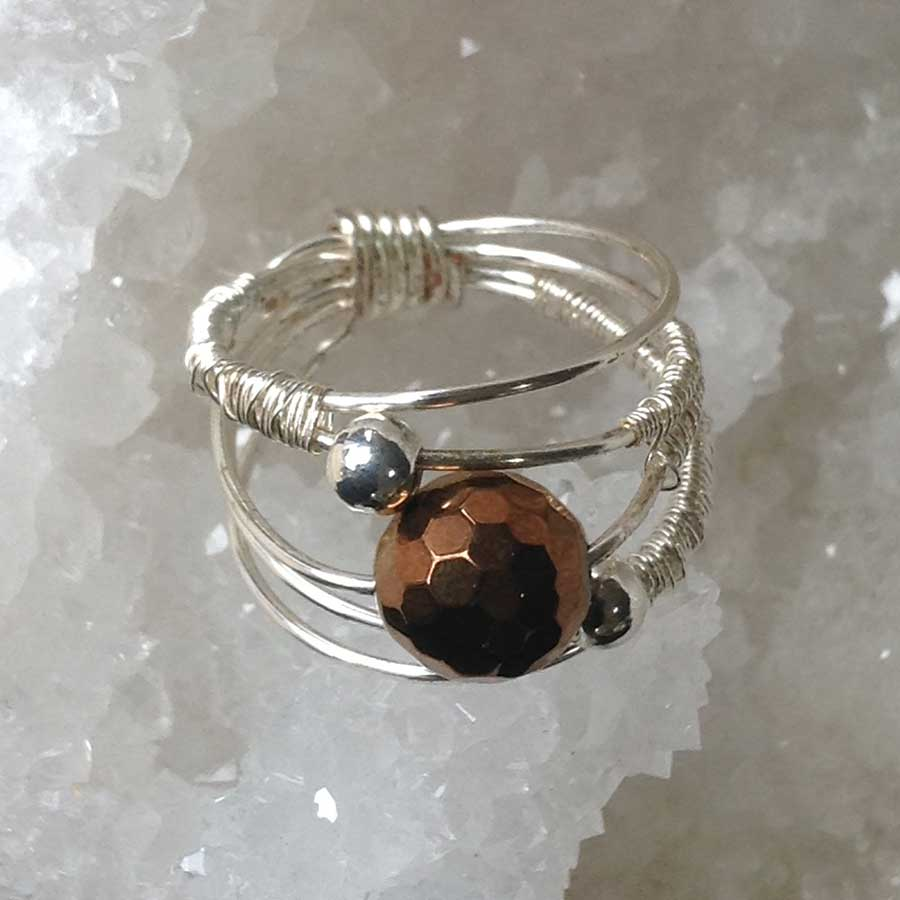 Ring: Bronze Coloured Hematite Ring In 925 Silver