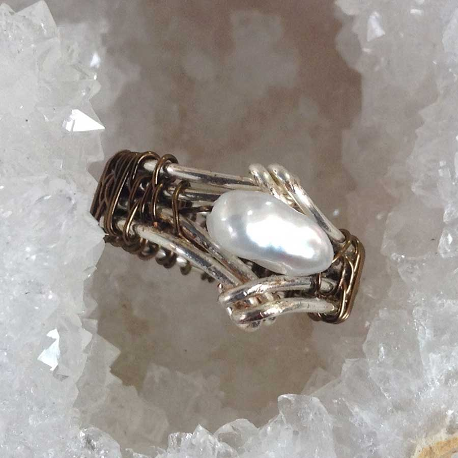 Rings: Antique Bronze And Silver Wired Rapped White Keshi Pearl Ring