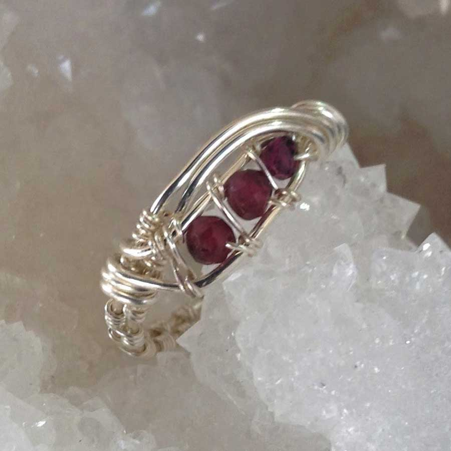 Ring: Ruby Channel Set 925 Silver Wire Wrapped Ring
