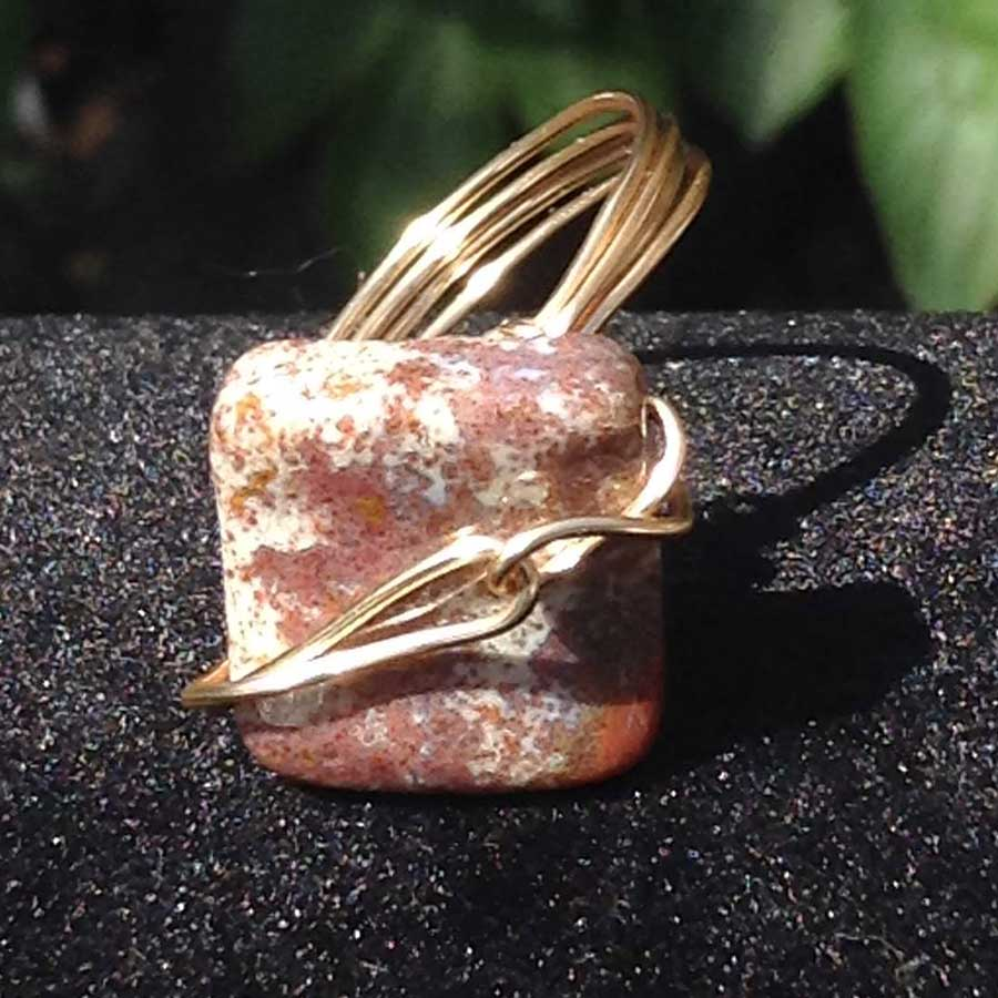 Ring: Jasper Wire Wrapped Ring In Champange Gold