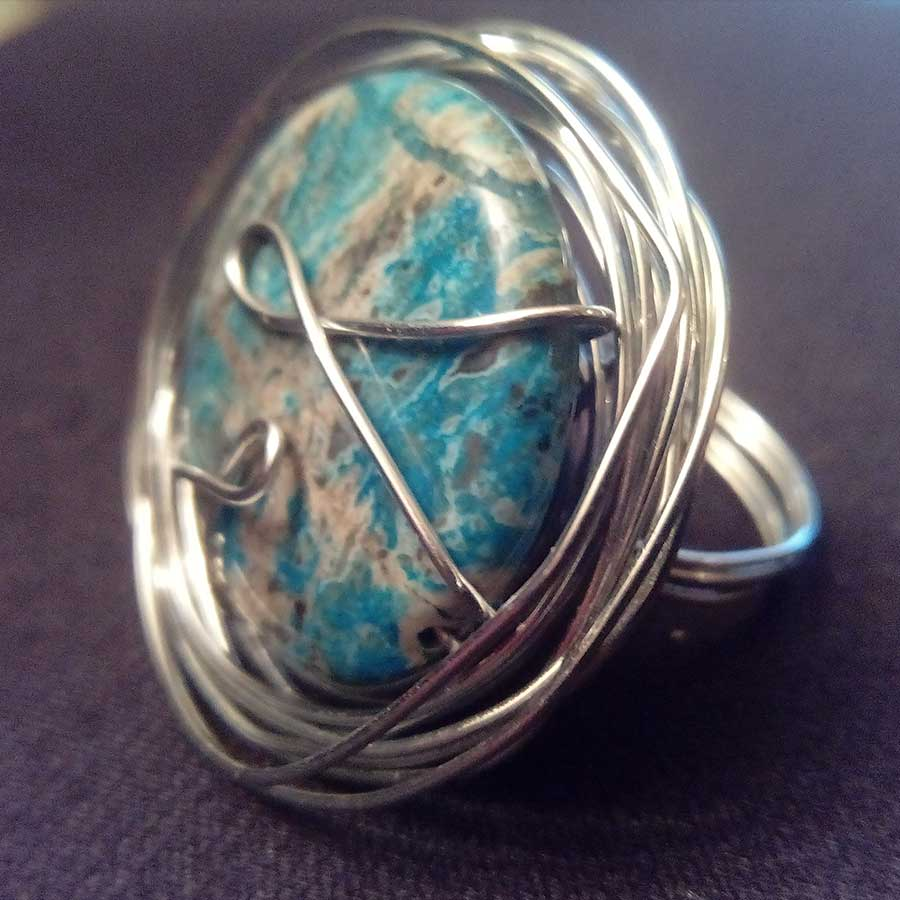 Ring: Blue Apatite Wire Wrapped Ring In Silver Plate