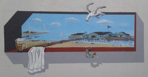 kunstner Xenia Michaelsen mine Værdige vægmalerier med Amager motiver