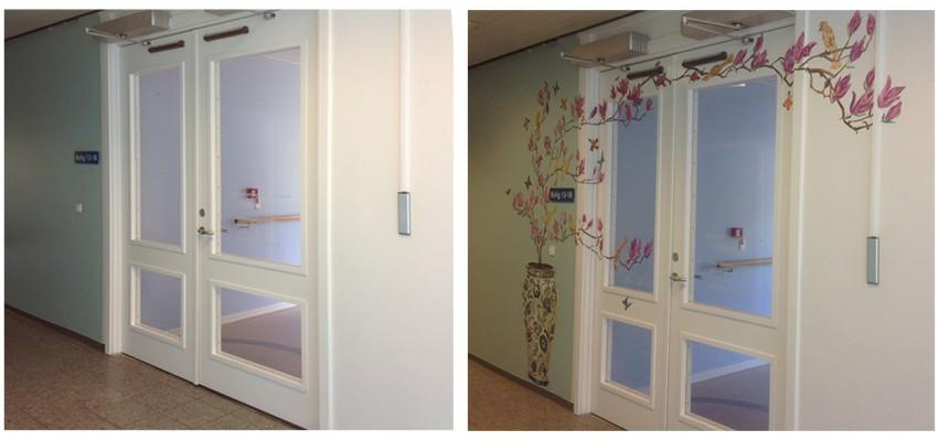 vægmaleri. gavlmaleri, projekter, dekoRum, før og efter, arbejdsmiljø, rumudsmykning, Xenia Michaelsen, vase, blomster