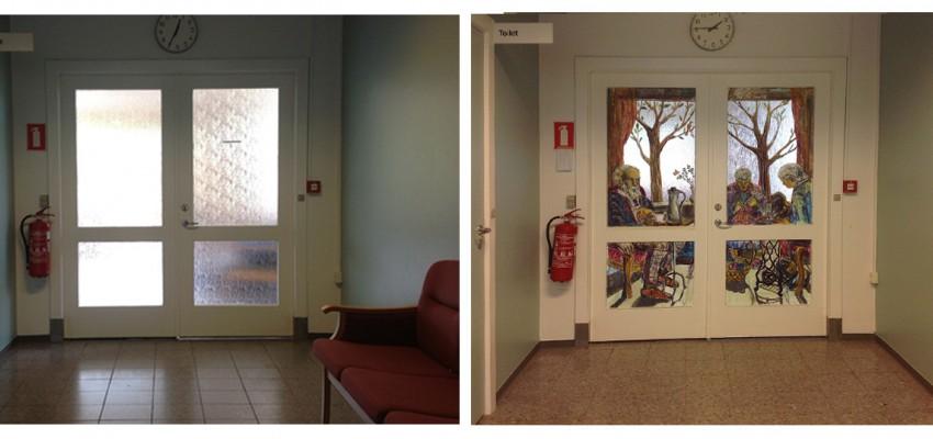 vægmaleri. gavlmaleri, projekter, dekoRum, før og efter, arbejdsmiljø, rumudsmykning, Xenia Michaelsen