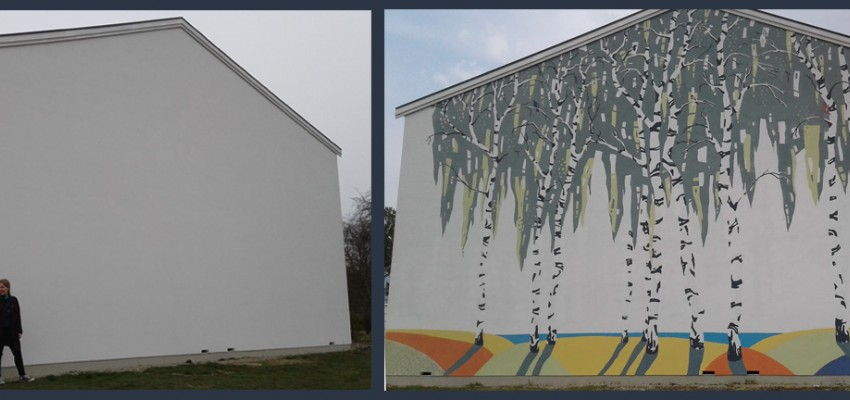 udendørs gavlmaleri i Frederikssund af kunstner Xenia Michaelsen DekoRum